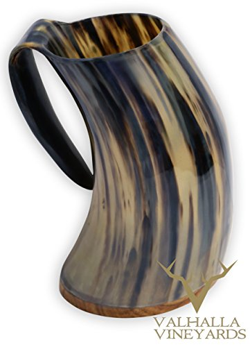XXL 18-20 Ounce Wood Bottom Royal Buffalo Drinking Horn With White or Dark Color/Pattern Selection For Beer/Mead (Black Striation) by Valhalla Vineyards