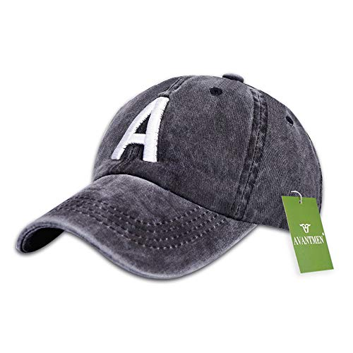 AVANTMEN Kids Baseball Cap Toddlers - Distressed Washed Sunhat Baby Little Boys Girls 100% Cotton 2-7 Years (1 Pack Letter-A Black)