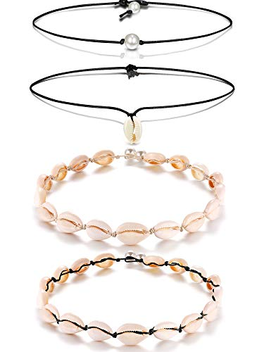 meekoo 4 Pieces Natural Shell Choker Hawaii Cowrie Shell Necklace Set Summer Beach Seashell Bracelets Handmade Jewelry for Girls Women Holidays (Style B)