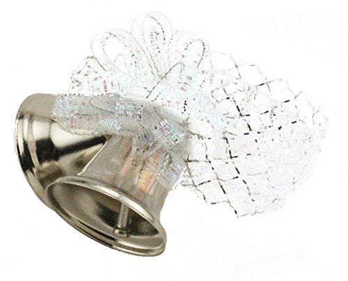 8 Napkin Rings Silver Metal Clinking Bells with Silver White Ribbon and Bow