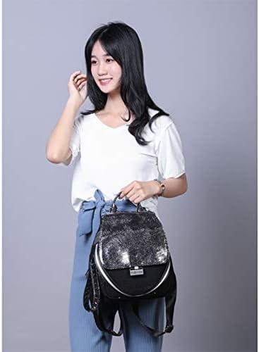 Zaino donna in pelle con paillettes personalità Net rosso casual portatile selvatico donna scuola medio-zaino borsa a mano