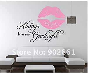 2Pcs Keep Smiling Words Rosy Lip Wall Sticker PVC Mural Decals Home Art Decor