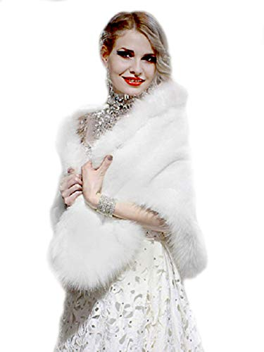Aukmla White Sleeveless Faux Fur Bride Bridesmaids Shawl Wedding Cover Up Winter Wedding Cape Bridal Fur Stole