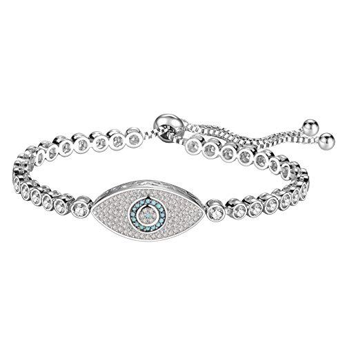 KIVN Fashion Jewelry Adjustable Bolo Evil Eye Pave CZ Cubic Zirconia Bridal Wedding Bracelets for Women (Turquoise-V2) - Eye Link Diamond Bracelet