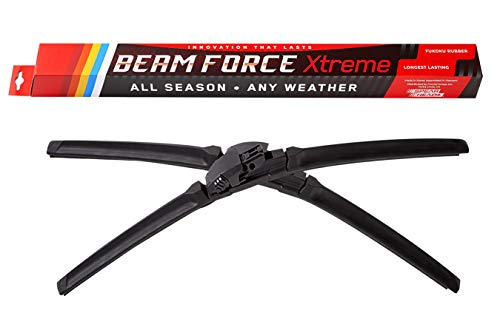 "Beam Force XTREME 24""+18"" Wiper Blades w/Japanese Fukoku Rubber for Longest Life, 6-MO Warranty (Pair)"