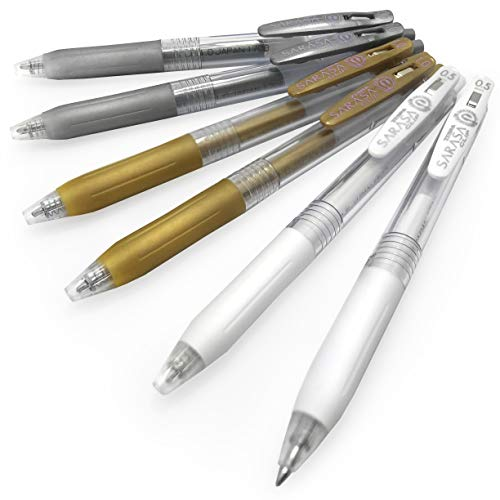 (Zebra Sarasa Clip Retractable Gel Rollerball Pen - 1.0mm - Metallic Gold and Silver + 0.5mm White - Pack of 6)