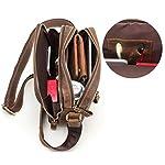 CONTACTS Genuine Leather Messenger Bag, Shoulder Bag, Handbag, Multi-Functional Travel (Hunter Brown)