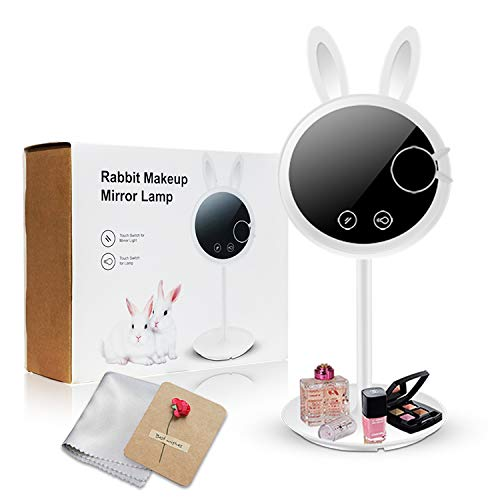 Bunny Mirror - YINUO LIGHT LED Makeup Mirror Vanity Mirror with Lights - 3 Color Lighting Modes, Also can be used as a charging Table lamp, 7x Magnification, Lighted Up Mirror (Gift Package)