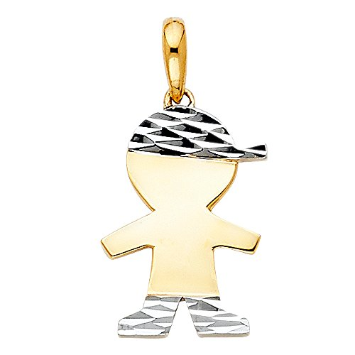 Solid 14k Yellow White Gold Small Boy Charm Engravable Kids Pendant Diamond Cut Two Tone 16 x 12 mm