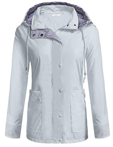 Zeagoo Women Hooded Cycling Packable Waterproof Hoodie Jackets with Drawstring Gray XXL