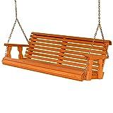 Amish Heavy Duty 800 Lb Roll Back 4ft. Treated Porch Swing - Cedar Stain