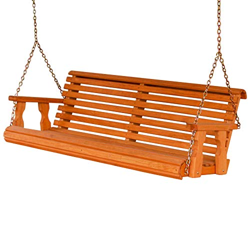 Amish Heavy Duty 800 Lb Roll Back 5ft. Treated Porch Swing – Cedar Stain
