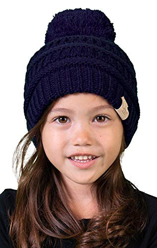 H-6847-31 Girls Winter Hat Warm Knit Slouchy Toddler Kids Pom Beanie - Navy