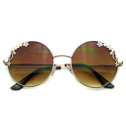 Emblem Eyewear - Womens Flower Floral Boho Round Mirror Sunglasses - Sunglasses Round Flower