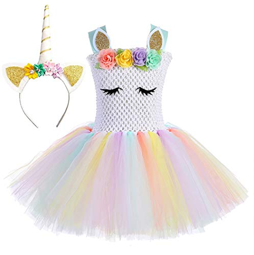 Tutu Dreams Unicorn Costume for Girls with Headband (White Rainbow-1, XL)]()