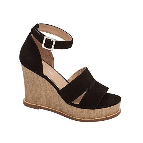 (Emma   Playful High Wooden Platform Wedge Halo Strap Sandal Black Suede 8.5M)