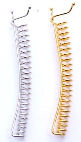 - Set of 2 Large SpyralClips Gold & Silver 3-3/4