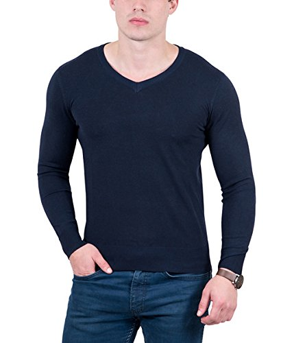 - RC Cashmere Blend Dark Blue V-Neck Fine Wool Blend Mens Sweater for Mens