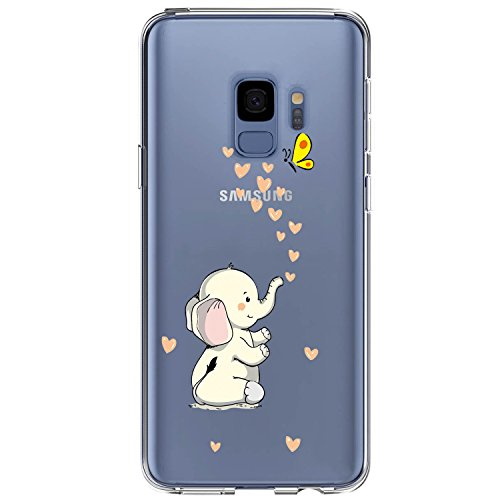 JAHOLAN Compatible Galaxy S9 Plus Case Cute Design Clear Case Soft TPU Bumper Rubber Silicone Cover Phone Case for Samsung Galaxy S9 Plus (S9+) - Cute Elephant