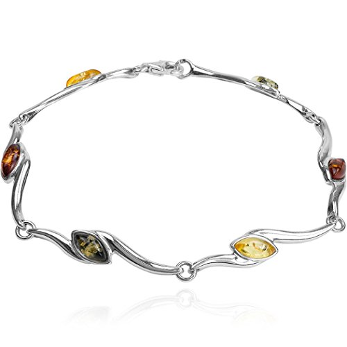 Ian and Valeri Co. Multicolor Amber Sterling Silver Marquise Bracelet 20cm