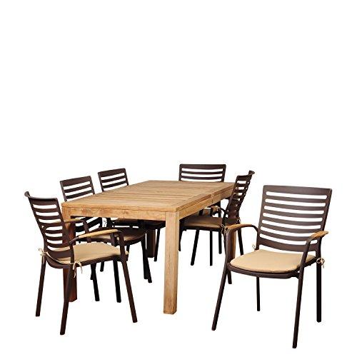 Amazonia Clementine 7 Piece Teak/Cast Aluminum 63″ Rectangular Dining Set with Tan Cushions