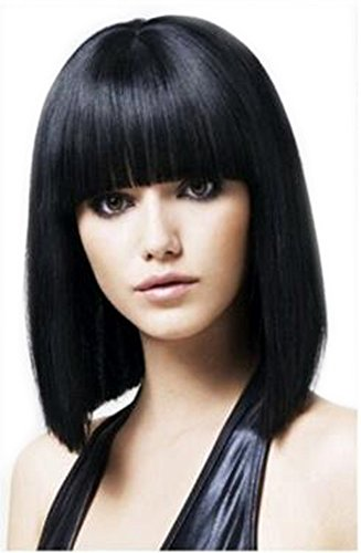 AmorWig Bob Straigt Wig-Natural Black Nest Bangs Shoulder Length Hair Wigs for Women -