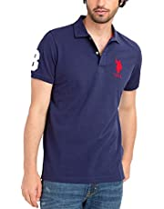 U.S. POLO ASSN. Mens Classic Big Logo Solid Pique Polo Shirt with #3 Patch