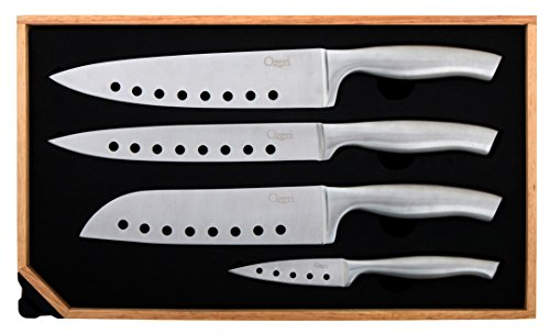 Ozeri 5-Piece Stainless Steel Knife and Sharpener Set, with