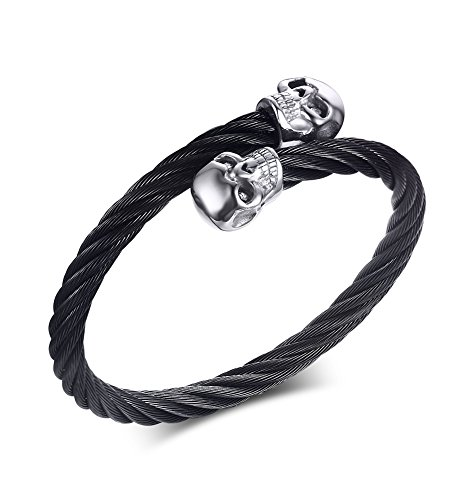 (Mealguet Jewelry Stainless Steel Black Twisted Cable Wire Double Skull Adjustable Bangle Bracelets for Men, Black Skull)
