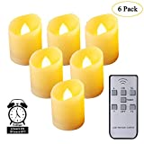 Leegoal Flameless Candles, [2018 Newest] Remote Control LED Flickering Candles Battery Operated Dancing Flame Tealight with Timer Function, 3 Modes & Brightness Adjustable, Warm White, 6 Pack