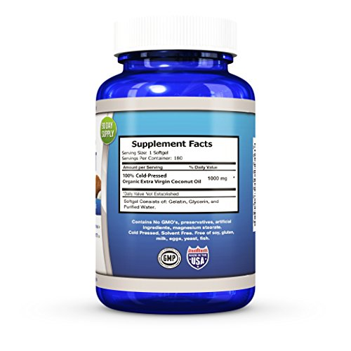 Coconut Oil Capsules 1000 mg Organic Extra Virgin 180 Softgels Great Pills for Hair, Skin, Energy and Weight Management