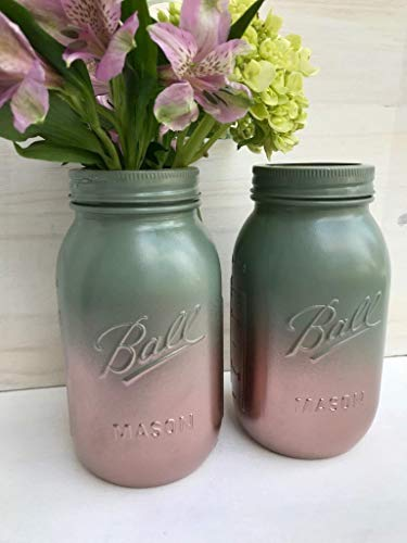 Set of 2 Sage Green and Rose Gold Painted Mason Jars Country Home Decor Accents Fall Rustic Wedding Centerpiece For Table