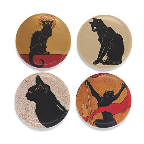(Buttonsmith Steinlen Black Cats Magnet Set - Set of 4 1.25