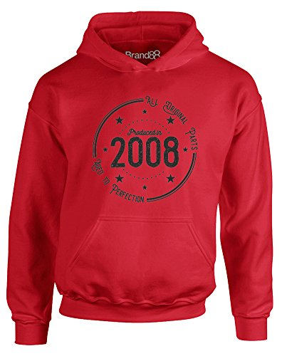 2008 Kids Hoodie - Born in 2008: Aged to Perfection, Kids Printed Hoodie - Fire Red/Black 12-13 Years