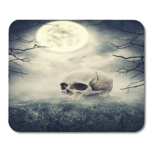 Semtomn Gaming Mouse Pad Creepy Human Skull Stone Against Spooky Sky Halloween Scene 9.5