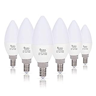 Simba Lighting LED Candelabra Light Bulbs B11 (C37) Candle Shape E12 Base (6 Pack) | Decorative 7W 60W Replacement 110V, 120V for Chandelier, Ceiling Fan, PC Cover, Non-Dimmable, Warm White 2700K