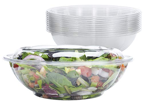 DOBI Serving Bowls with Lids [10 Pack - 64 oz.] - Clear Plastic Disposable Containers with Lids, Large Size. Great for a Party or When You Wish to Take Your Treats with You