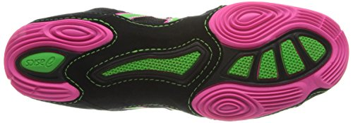 ASICS Mens Cael V6.0 Wrestling Shoe Black/Green Gecko/Knockout Pink