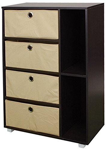 Furinno 11159EX/BR Multipurpose Storage Cabinet w/4 Bin Drawers, Espresso/Brown