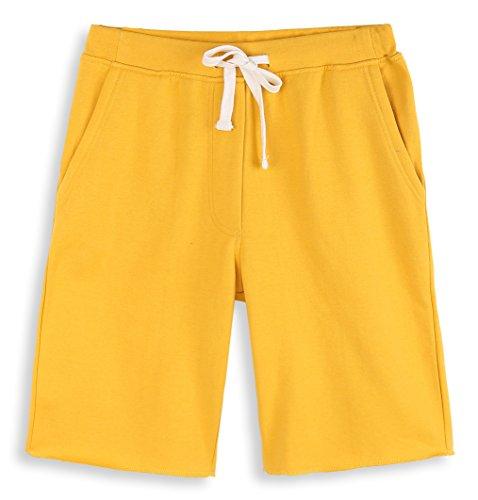 HARBETH Men's Casual Soft Cotton Elastic Fleece Jogger Gym Active Pocket Shorts Apricot Gold M ()