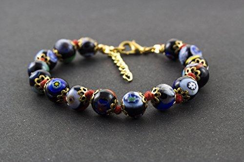 - Murano Glass Handmade Bracelet / Millefiori black / Venice Glass / Italy Jewelry / Murrini Beads