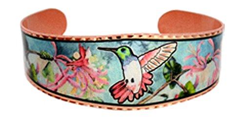 Copper Cuff Wrist Bracelet Handmade -Turquoise Hummingbird Color Native Aztec Design
