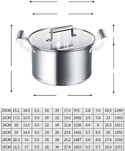 DYXYH Soupe en acier inoxydable Pot 304 ménages épaissie Petites Oreilles non-bâton de grande capacité Soupe Porridge Cocotte Cuisinière au gaz (Size : 30cm)