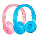 BuddyPhones Play - Wireless Bluetooth Volume-Limiting Kids Headphones - 14-Hour Battery Life - 4 Volume Settings of 75, 85, 94db and StudyMode - Includes Backup Cable for Sharing - Pink and Blue