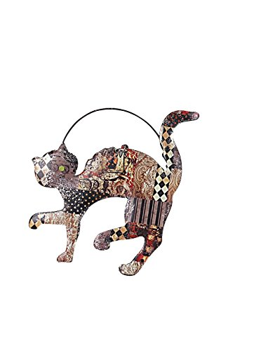 Metal Hanging Decoupage Cat Halloween Decoration ()
