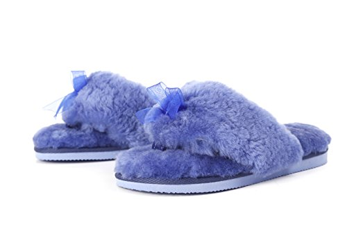 Australian Natural Blue L B Flops Lamb Sheepskin Slippers Flip Women's Dark A M ZXXqMAY