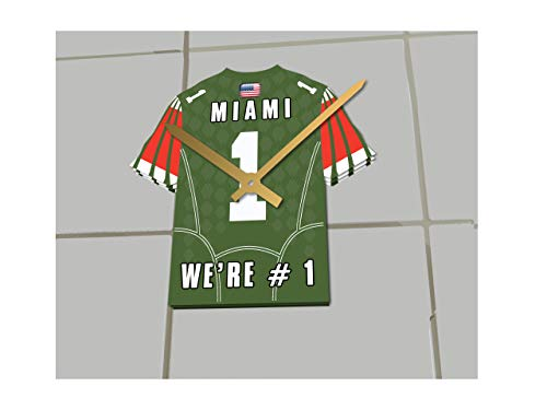FanPlastic College Football USA - We're Number ONE American Football Shirt Clocks - Support Your Team !!! (Miami Hurricanes)