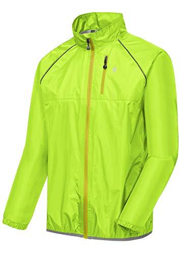 Little Donkey Andy Men's Waterproof Cycling Bike Jacket, Running Golf Rain Jacket, Windbreaker, Ultralight and Packable Hi-Viz Yellow M