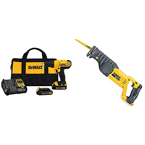 (Dewalt DCD771C2 20V MAX Cordless Lithium-Ion 1/2 inch Compact Drill Driver Kit and Reciprocating Saw, Bare Tool Only)