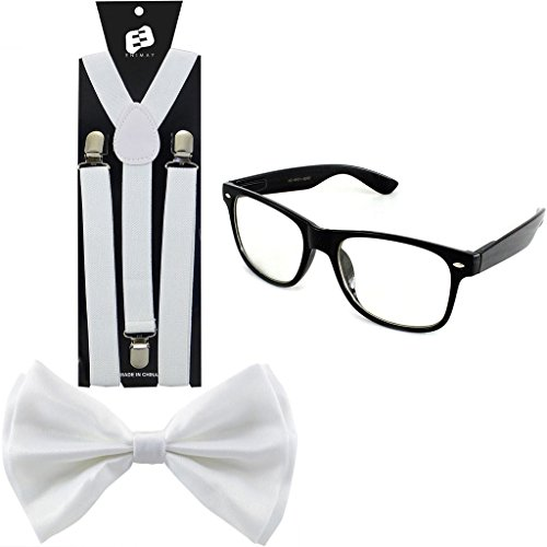 Enimay Suspender Bowtie Wayfarer Clear Glasses Nerd Costume Halloween White
